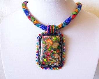 Beadwork Bead Embroidery Pendant Necklace with Rainbow Sea Jasper and Pyrite - SUMMER DAY - Summer collection - Colorful Geometric necklace