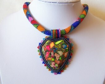 Beadwork Bead Embroidery Pendant Necklace with Rainbow Sea Jasper and Pyrite - statement necklace - Summer collection - Geometric necklace