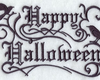Happy Halloween Gothic - Embroidered Decorative Absorbent White Cotton Flour Sack Towel, Linen Tea Towel, Waffle Towel
