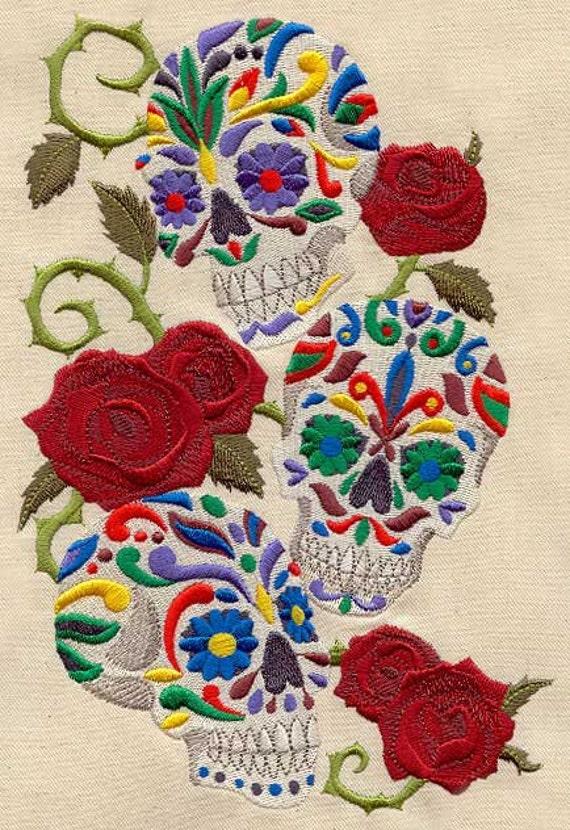 Calavera Sweet Skulls Dia de les Muertos - Embroidered Decorative Absorbent White Cotton Flour Sack Towel, Linen Tea Towel, Waffle Towel