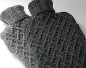 Christmas Sale 20% Off -Hand Knit Alpaca Mix Hot Water Bottle Cover in Grey- READY TO SHIP
