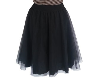 Tutu skirt, Tulle skirt, Summer skirt, Black skirt, Adult tutu skirt, Bridesmaid skirt, Bachelorette skirt, Midi skirt, Women's skirt