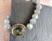 Beaded Pave Diamond Labradorite Bracelet , diamonds on yellow citrine bracelet, Stretchy labradorite bracelet, Stacking gifts boho yoga chic