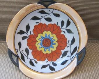 Deco Style Lusterware Bowl MIJ Red Flower TA Mark from 1920s