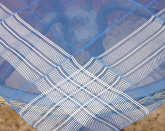 Vintage Dark Blue with White Stripes Patterned Ladies Square Head Scarf (c1960s)