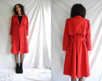 80's bright red wool 3/4 length belted mac/trench style double breasted coat.