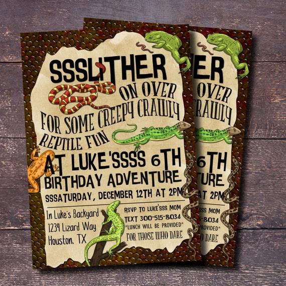 Reptile Party Invitation Boys Birthday Invitation Reptile – Reptile Invitations Birthday