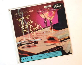 Vintage 1950s Extended Play 45 rpm Record For Lover's Only 4 Songs Curated by Jackie Gleason