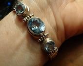 SALE  Sterling Designer signed Blue Stone Bracelet Blue Topaz Lovely