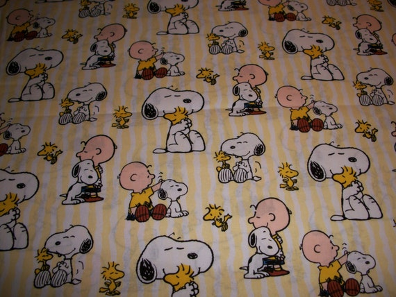 Peanuts Yellow Cotton Fitted Sheet by SunshineBabyandQuilt