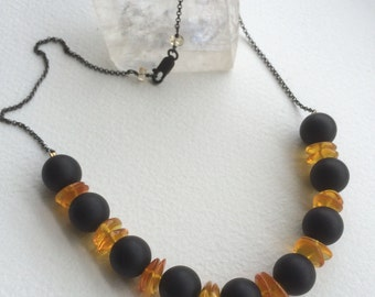 Black agate and Amber necklace