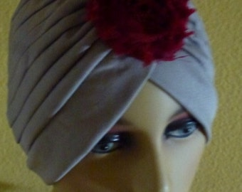 Chemo Grey Turban with Gray and Pink Flower and Maribou Puff, Chemo Turban in Gray with Shabby Flower