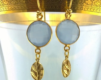 Fern XI: Unusual Lavender Chalcedony Coins with Woodland Fern Earrings
