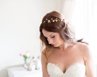 Ophelia Halo, gold halo. Bridal Halo. Bridal Hair Accessory