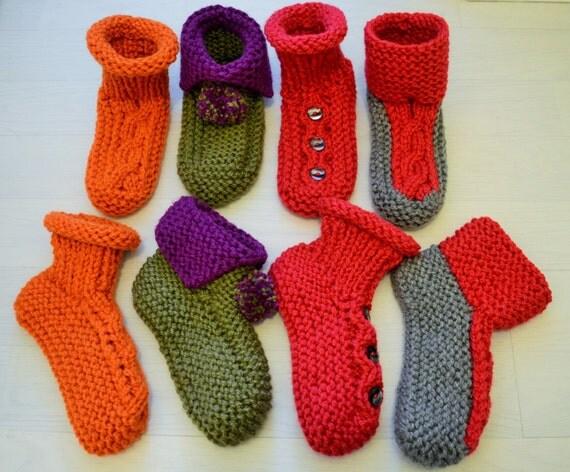 Slipper Socks 4 styles knitting pattern DOWNLOAD chunky / medium worsted / bulky yarn