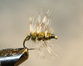 Fly Fishing Flies - Michigan Fisherman - Olive and Gray - Made in Michigan Fishing Tackle - Grizzly Hackle - Number 10 Hook