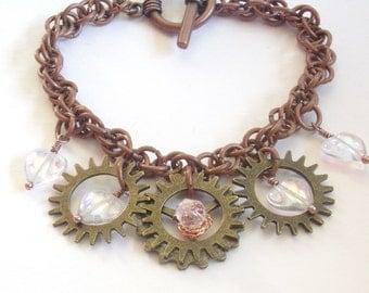 Steampunk Gear Cog Charm Chainmaille Bracelet