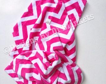 Minky Baby Blanket, Pink Chevron Blanket, Crib Blanket, Pink Baby Blanket, Minky Kids Blanket, Girl Crib Size Bedding   36 x 45