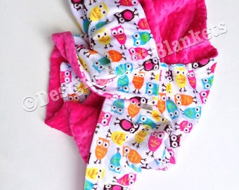 Minky Baby Blanket, Owl Blanket, Baby Boy Blanket, Baby Girl Blanket, Infant blanket,Owl Car Seat Blanket, Stroller Blanket Size  29 x 36