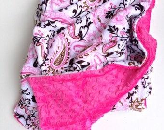 Paisley Minky Blanket, Pink Baby Blanket ,Minky Baby Blanket, Baby Girl Bedding,Infant Blanket, Car Seat Blanket,Stroller Blanket 29 x 36 in