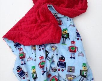 Minky Baby Blanket  Robot  Blanket,Blue Baby Boy Blanket,Baby Shower Gift, Boy Crib Blanket,  Crib Size 36 x 45 in