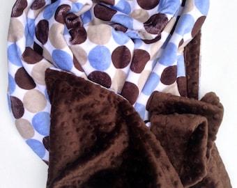 Minky Baby Blanket, Brown Blue Baby Bedding,Polka Dot Blanket, Baby Boy Minky Blanket, Boy Nursery Bedding, Crib Size  36 x 45