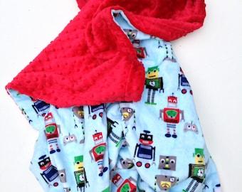 Robot Minky Blanket,Toddler Blanket, Robot Toddler Bedding, Boy Robot Blanket,Toddler Bedding Size 40 x 50