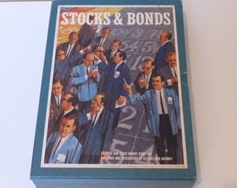 Stocks and Bonds Vintage 60s Game Complete 3M Bookshelf Game Wall Street Stock Market Trading Shares