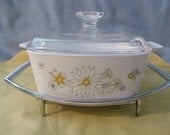Corning Ware Floral Bouquet Casserole Dish with Lid and Chrome Trivet