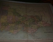 Antique map of victoria australia english william collins as is no date aussie  frame it wall candy
