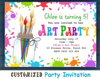 CUSTOMIZED Art Party Invitation, Art Party, Print a Party,Party Invitations,Instant Download Printable Art,Invitations,Children's Art, Paint