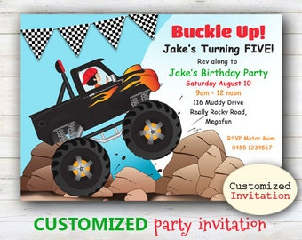 CUSTOMIZED Monster Truck Party Printable Invitation - Jpeg printable file, personalized for your child.