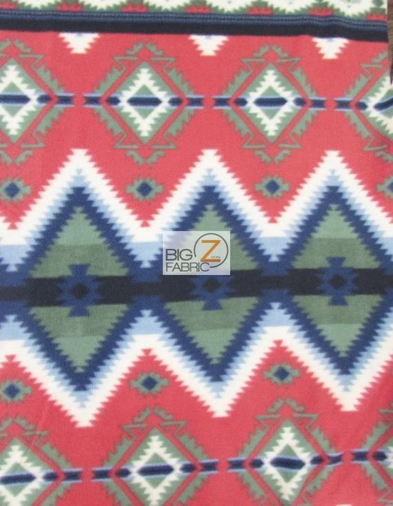 Indian Print Polar Fleece Fabric Tribal Diamonds Red