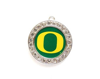 1 University Of Oregon Ducks Football  Pendant/Charms With Crystal Border - Officially Licensed - 27-12-4