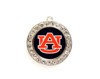 1 Auburn University Tigers Football Pendant/Charms With Crystal Border - Officially Licensed - 27-12-2