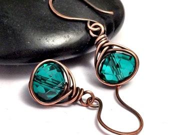 Emerald Green Copper Earrings | Copper Wire Wrapped Earrings UK | Antique Copper Earrings | Emeral Green Earrings | Copper Jewellery UK
