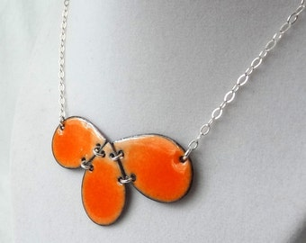 Tangerine Orange Ombre Enamel Teardrop Necklace - Enamel Jewelry