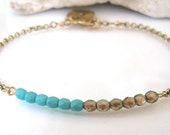 Turquoise Czech Glass Bracelet-Delicate Bracelet-Initial Charm Bracelet-Gift Jewelry-Gift-Personalized Gift Jewelry-Free Shipping