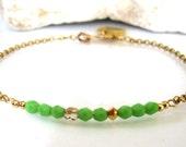 Kiwi Lime Czech Glass Bracelet-Charm Bracelet-Personalized Charm Bracelet-Gift Jewelry-Dainty Bracelet-Perfect Gift Bracelet
