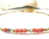 Sorbet Pink Czech Glass Bracelet-Personalized Charm Bracelet-Initial Charm Bracelet-Dainty Bracelet-Gift Jewelry-Delicate Bracelet