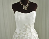 Strapless Alfred Angelo Metallic Embroidered Floral Wedding Gown with Beading