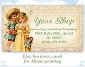 Vintage shabby Business cards Etsy shop business cards on Digital collage sheet