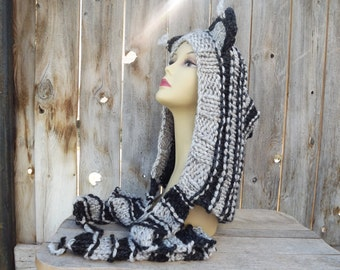 Big Bad Wolf Hood with Attached Scarf - Festival - Hoodie - Scoodie - Wolf - Hood - Animal - Hand Knit-White, Black and Gray - Wool Blend