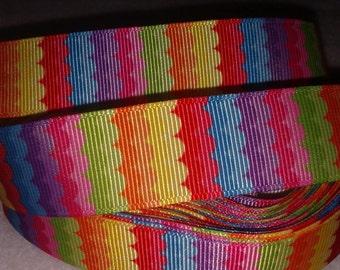 Rainbow Waves Grosgrain Ribbon