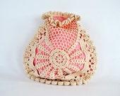 Vintage Crochet Drawstring Bag ~ 1920's Era Evening Bag ~ Flapper Handbag ~ Vintage Purse