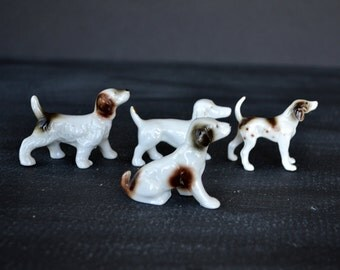 Four Collectible Dog Figures | Vintage Japan Figures | Hunting Dogs | Sporting Dogs