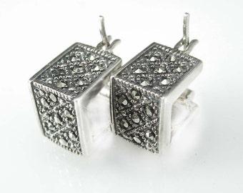 Vintage Marcasite earrings sterling sparkling silver hoop jewelry bride gift bridesmaid graduation pierced