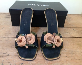 CHANEL Vintage High Heel Sandals with Camelias