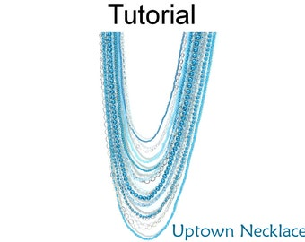 Beading Tutorial Pattern Long Multi-Strand Necklace - Bead Stringing - Simple Bead Patterns - Uptown Necklace #14940