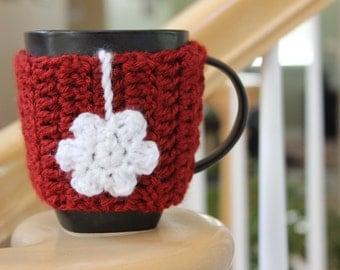 Flower Mug Cozy / Crimson Red White/Ready to Ship